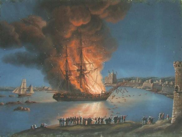 The burning of the Philadelphia in Tripoli Harbor, an act which caused the American offensive against the Barbary Pirates.