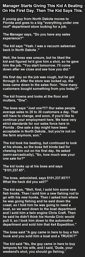 Farmboy turns Salesman